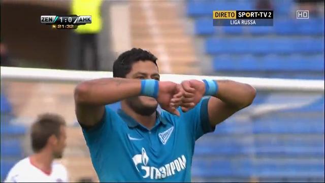 Zenit 2-0 Amkar Perm' - Golo de Hulk (22min)