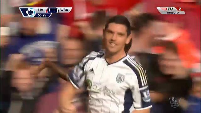 Liverpool 2-1 West Bromwich Albion - Golo de S. Berahino (56min)