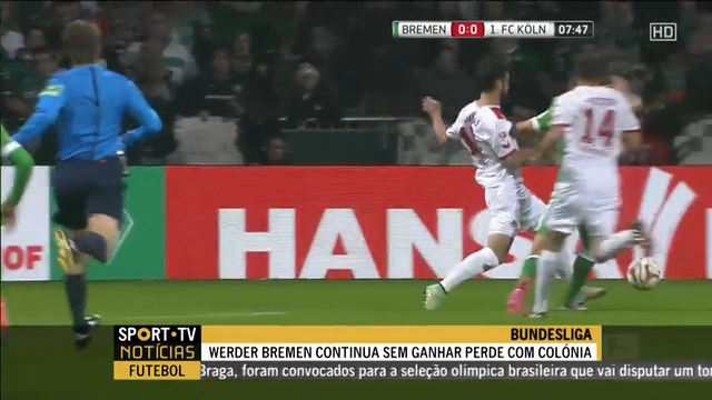 Resumo: Werder Bremen 0-1 Köln (24 October 2014)