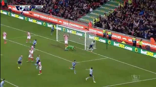Stoke City 2-2 West Ham United - Golo de S. Downing (73min)