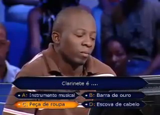 """""""Quem quer ser Milionário"""" angolano: O que é um clarinete?"""